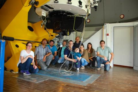 Team members with the newly commissioned RoboPol instrument at the Skinakas 1.3m telescope